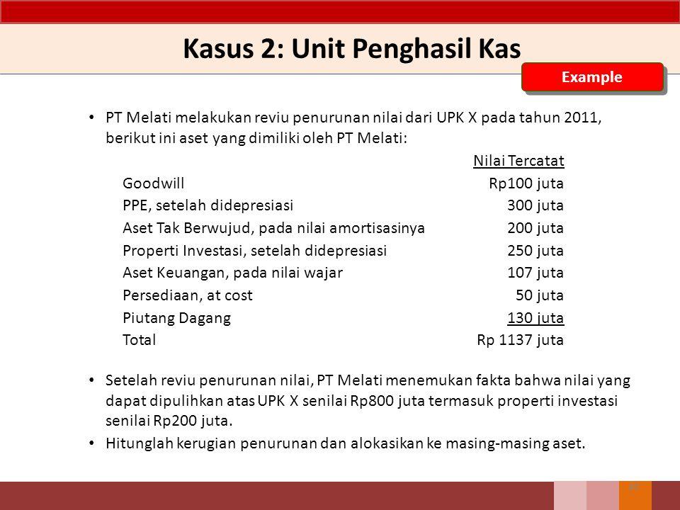 Kasus 2: Unit Penghasil Kas 40 Example PT Melati melakukan reviu penurunan nilai dari UPK X pada tahun 2011, berikut ini aset yang dimiliki oleh PT Me