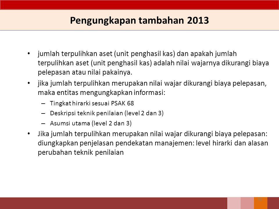 Pengungkapan tambahan 2013 jumlah terpulihkan aset (unit penghasil kas) dan apakah jumlah terpulihkan aset (unit penghasil kas) adalah nilai wajarnya