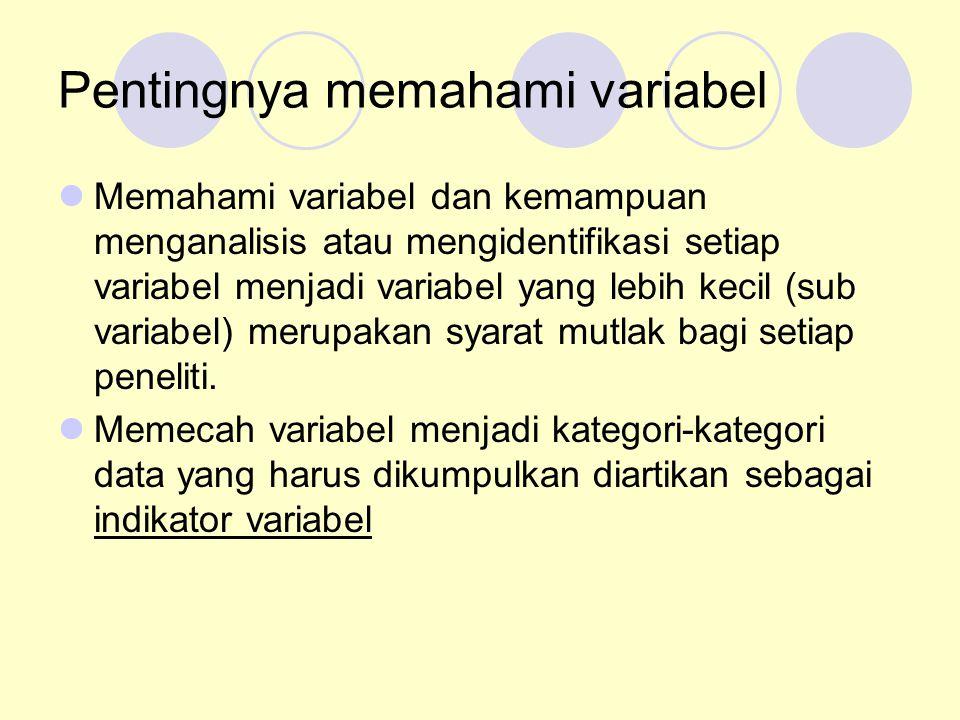 Pentingnya memahami variabel Memahami variabel dan kemampuan menganalisis atau mengidentifikasi setiap variabel menjadi variabel yang lebih kecil (sub