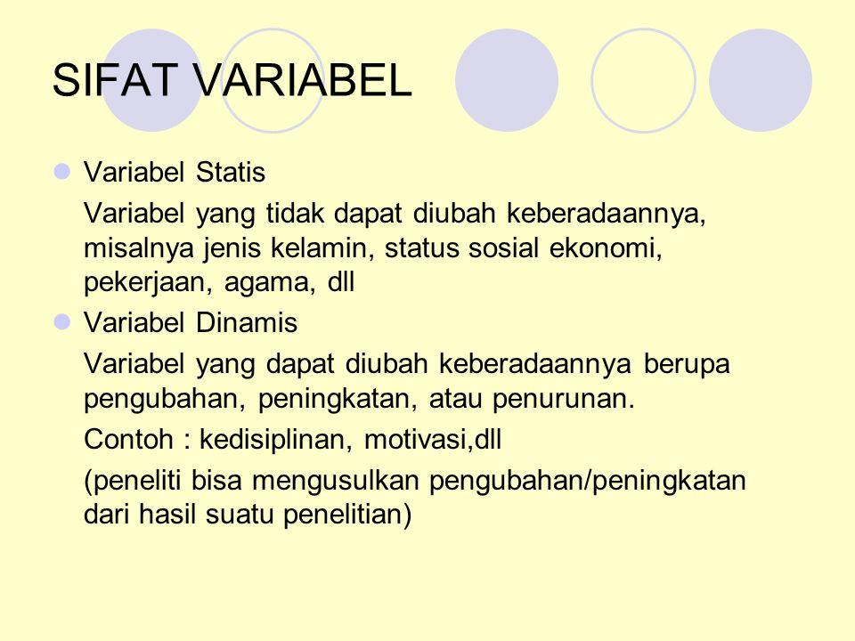 SIFAT VARIABEL Variabel Statis Variabel yang tidak dapat diubah keberadaannya, misalnya jenis kelamin, status sosial ekonomi, pekerjaan, agama, dll Va