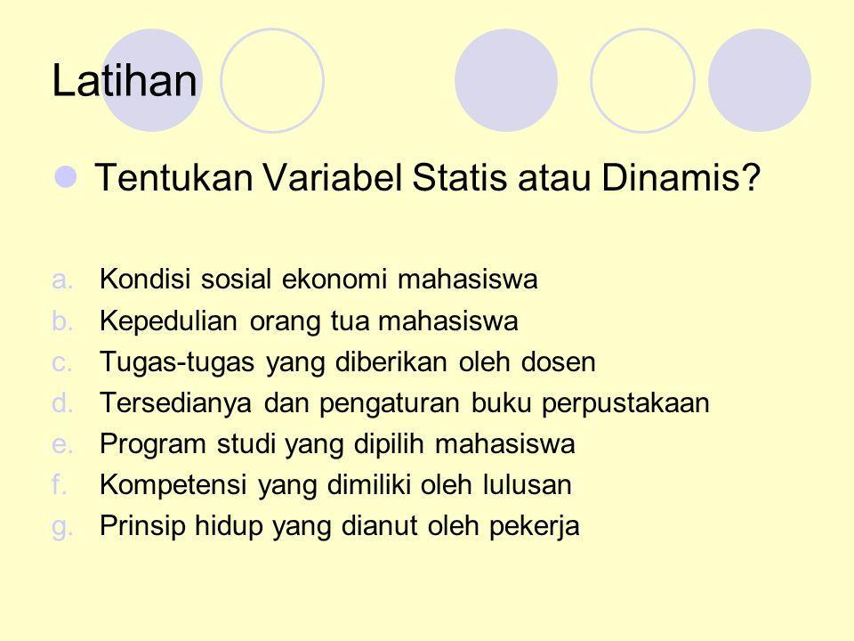 Latihan Tentukan Variabel Statis atau Dinamis? a.Kondisi sosial ekonomi mahasiswa b.Kepedulian orang tua mahasiswa c.Tugas-tugas yang diberikan oleh d