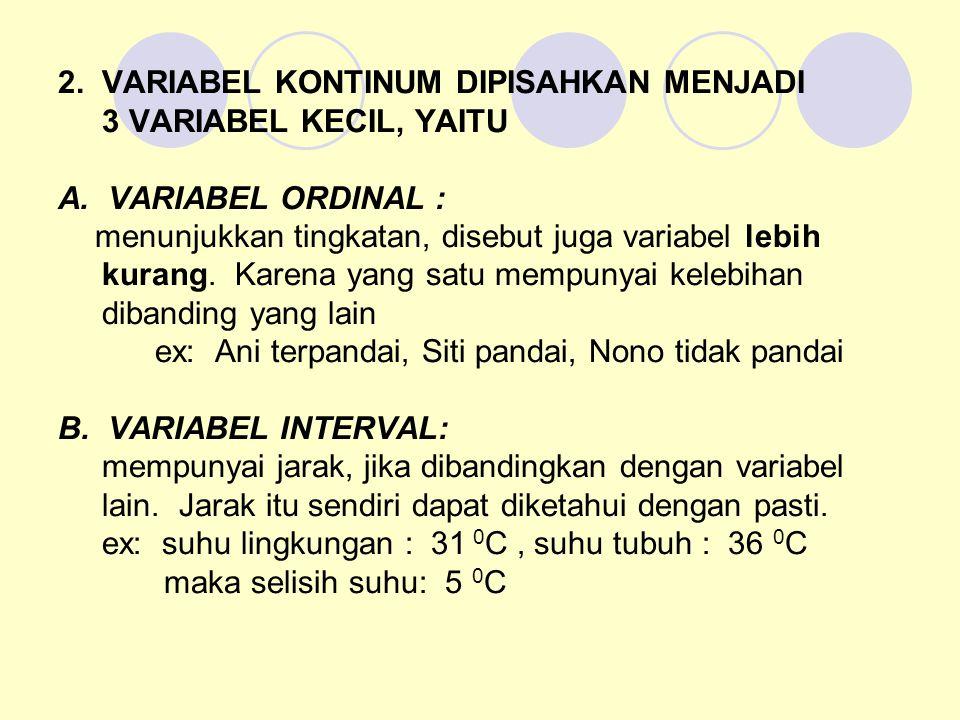 2. VARIABEL KONTINUM DIPISAHKAN MENJADI 3 VARIABEL KECIL, YAITU A. VARIABEL ORDINAL : menunjukkan tingkatan, disebut juga variabel lebih kurang. Karen