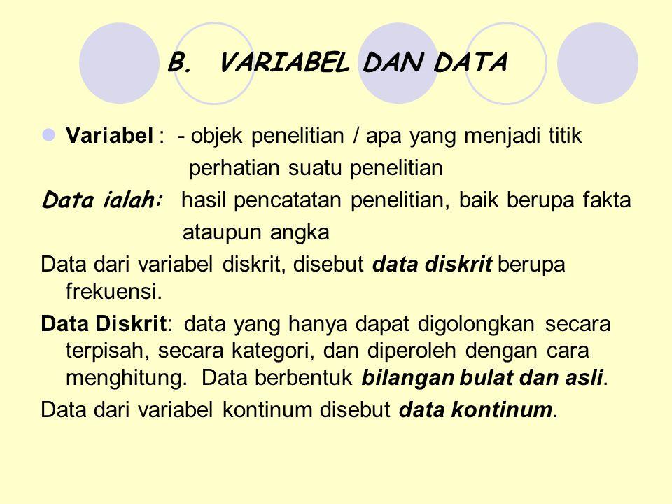B. VARIABEL DAN DATA Variabel : - objek penelitian / apa yang menjadi titik perhatian suatu penelitian Data ialah: hasil pencatatan penelitian, baik b