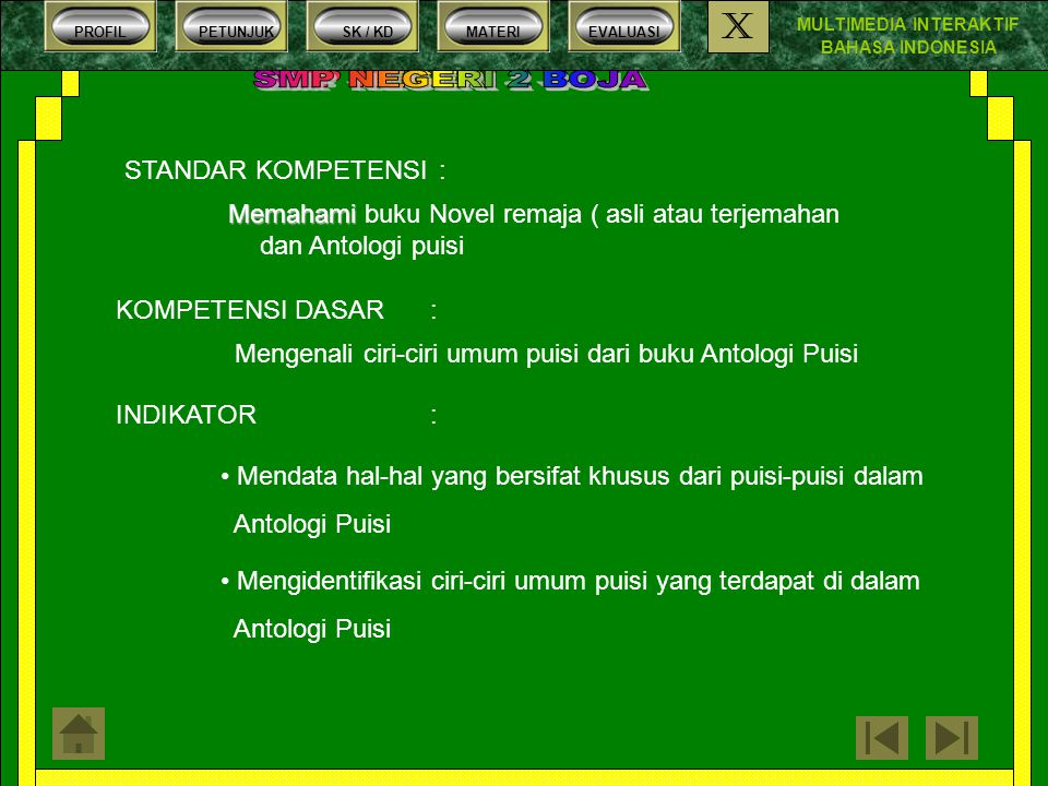 MULTIMEDIA INTERAKTIF BAHASA INDONESIA PROFILPETUNJUKSK / KDMATERIEVALUASI X Syarat – syarat puisi yang baik Puisi yang baik harus memperhatikan hal- hal berikut ini : 1.