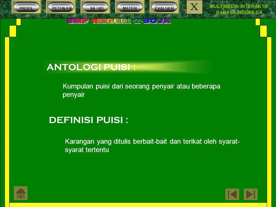 MULTIMEDIA INTERAKTIF BAHASA INDONESIA PROFILPETUNJUKSK / KDMATERIEVALUASI X 7.Bentuk penulisan puisi yang menonjolkan tata bentuk, gambaran / sajian disebut ….
