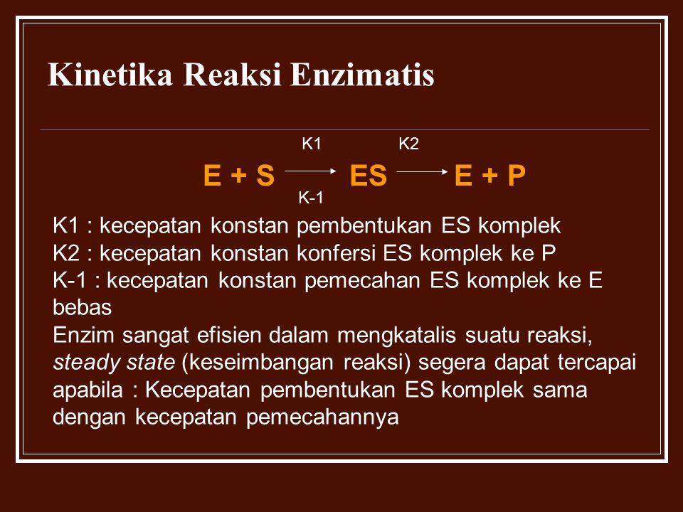 Kinetika Reaksi Enzimatis E + S ES E + P K1 K2 K-1 K1 : kecepatan konstan pembentukan ES komplek K2 : kecepatan konstan konfersi ES komplek ke P K-1 :