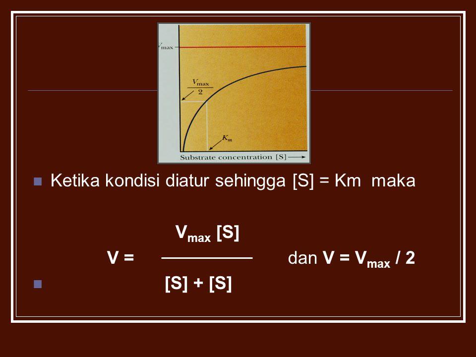 Ketika kondisi diatur sehingga [S] = Km maka V max [S] V = dan V = V max / 2 [S] + [S]