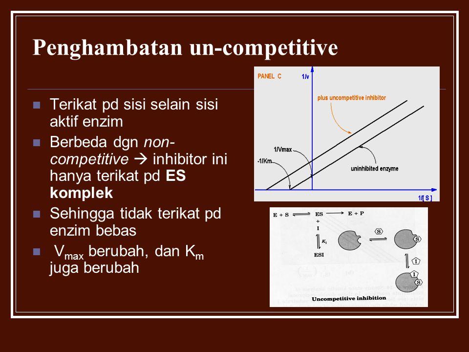 Penghambatan un-competitive Terikat pd sisi selain sisi aktif enzim Berbeda dgn non- competitive  inhibitor ini hanya terikat pd ES komplek Sehingga