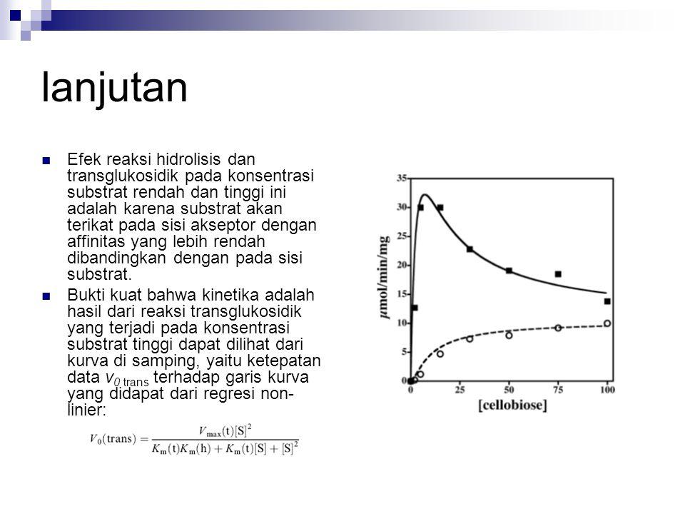 Efek reaksi hidrolisis dan transglukosidik pada konsentrasi substrat rendah dan tinggi ini adalah karena substrat akan terikat pada sisi akseptor deng