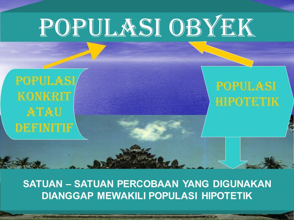 POPULASI OBYEK POPULASI KONKRIT ATAU DEFINITIF POPULASI HIPOTETIK SATUAN – SATUAN PERCOBAAN YANG DIGUNAKAN DIANGGAP MEWAKILI POPULASI HIPOTETIK