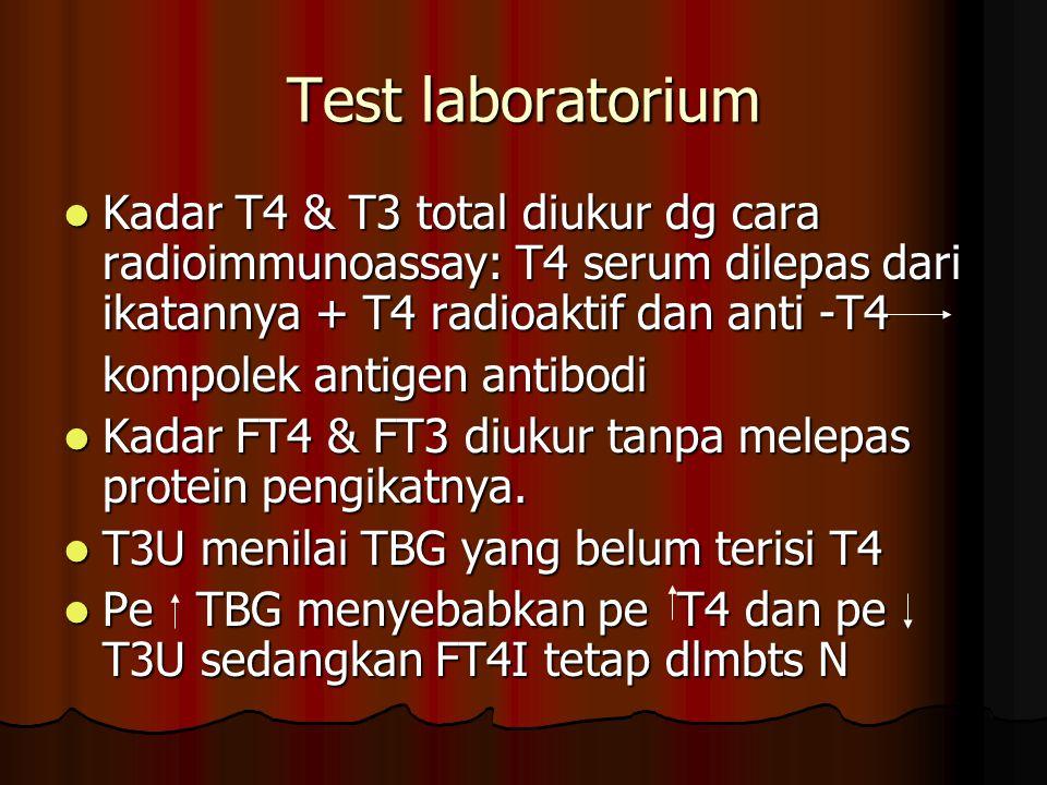 Test laboratorium Kadar T4 & T3 total diukur dg cara radioimmunoassay: T4 serum dilepas dari ikatannya + T4 radioaktif dan anti -T4 Kadar T4 & T3 total diukur dg cara radioimmunoassay: T4 serum dilepas dari ikatannya + T4 radioaktif dan anti -T4 kompolek antigen antibodi Kadar FT4 & FT3 diukur tanpa melepas protein pengikatnya.