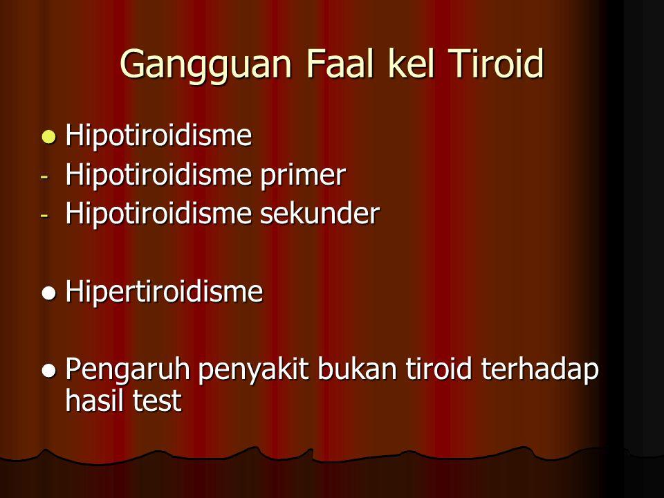 Gangguan Faal kel Tiroid Hipotiroidisme Hipotiroidisme - Hipotiroidisme primer - Hipotiroidisme sekunder Hipertiroidisme Hipertiroidisme Pengaruh penyakit bukan tiroid terhadap hasil test Pengaruh penyakit bukan tiroid terhadap hasil test