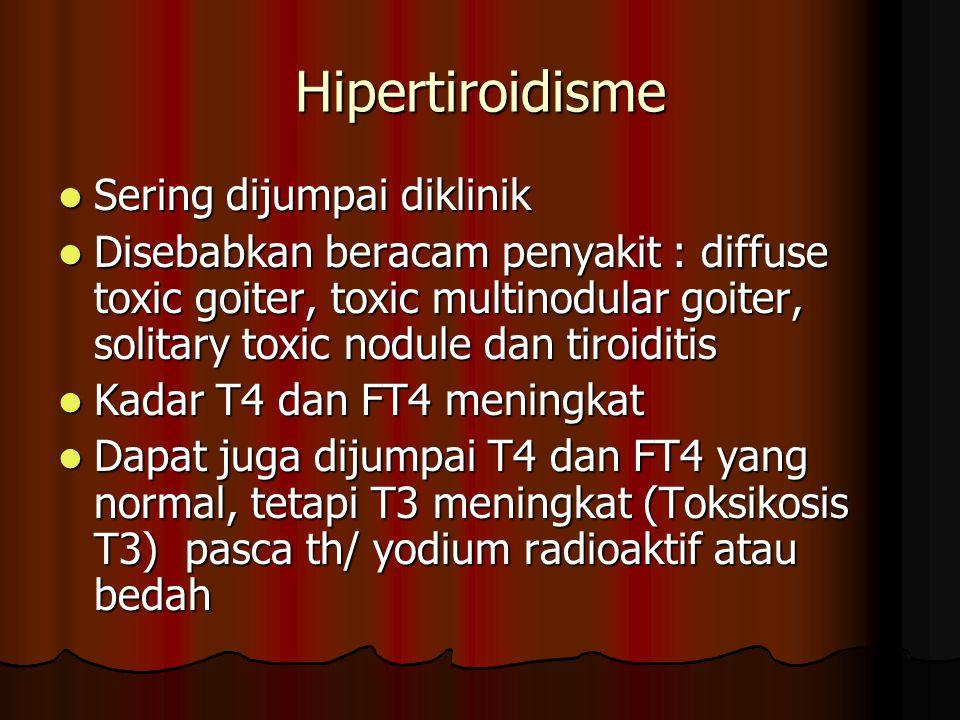 Hipertiroidisme Sering dijumpai diklinik Sering dijumpai diklinik Disebabkan beracam penyakit : diffuse toxic goiter, toxic multinodular goiter, solitary toxic nodule dan tiroiditis Disebabkan beracam penyakit : diffuse toxic goiter, toxic multinodular goiter, solitary toxic nodule dan tiroiditis Kadar T4 dan FT4 meningkat Kadar T4 dan FT4 meningkat Dapat juga dijumpai T4 dan FT4 yang normal, tetapi T3 meningkat (Toksikosis T3) pasca th/ yodium radioaktif atau bedah Dapat juga dijumpai T4 dan FT4 yang normal, tetapi T3 meningkat (Toksikosis T3) pasca th/ yodium radioaktif atau bedah