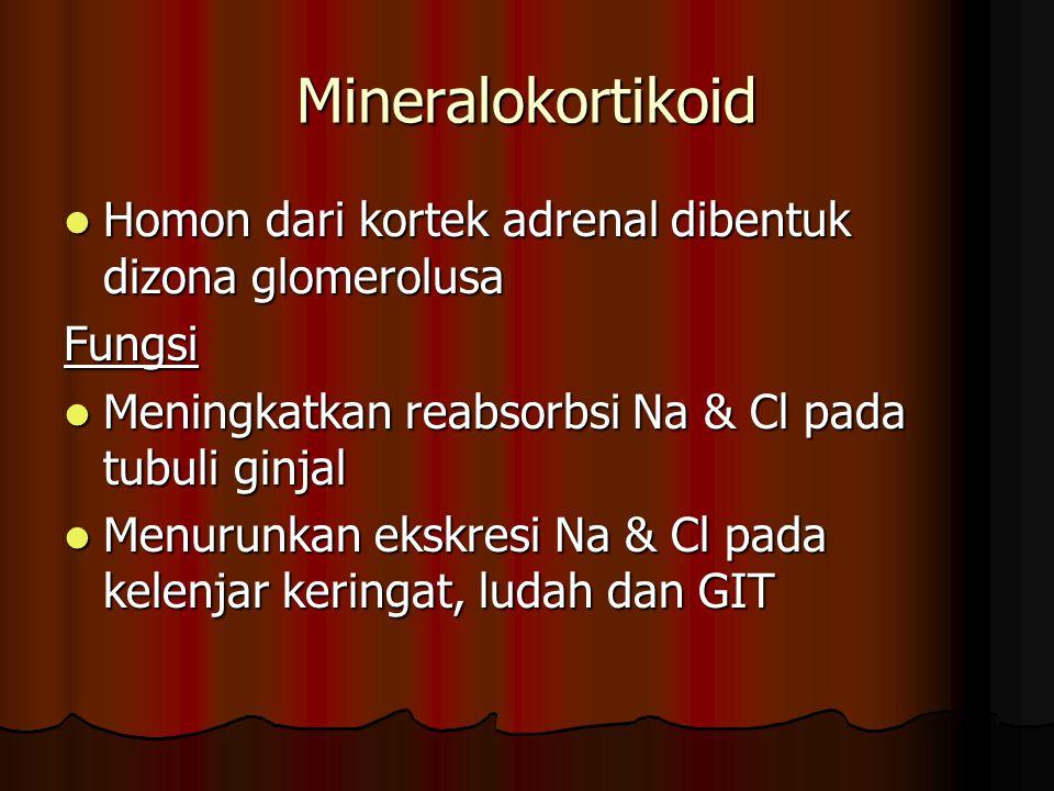 Mineralokortikoid Homon dari kortek adrenal dibentuk dizona glomerolusa Homon dari kortek adrenal dibentuk dizona glomerolusaFungsi Meningkatkan reabsorbsi Na & Cl pada tubuli ginjal Meningkatkan reabsorbsi Na & Cl pada tubuli ginjal Menurunkan ekskresi Na & Cl pada kelenjar keringat, ludah dan GIT Menurunkan ekskresi Na & Cl pada kelenjar keringat, ludah dan GIT