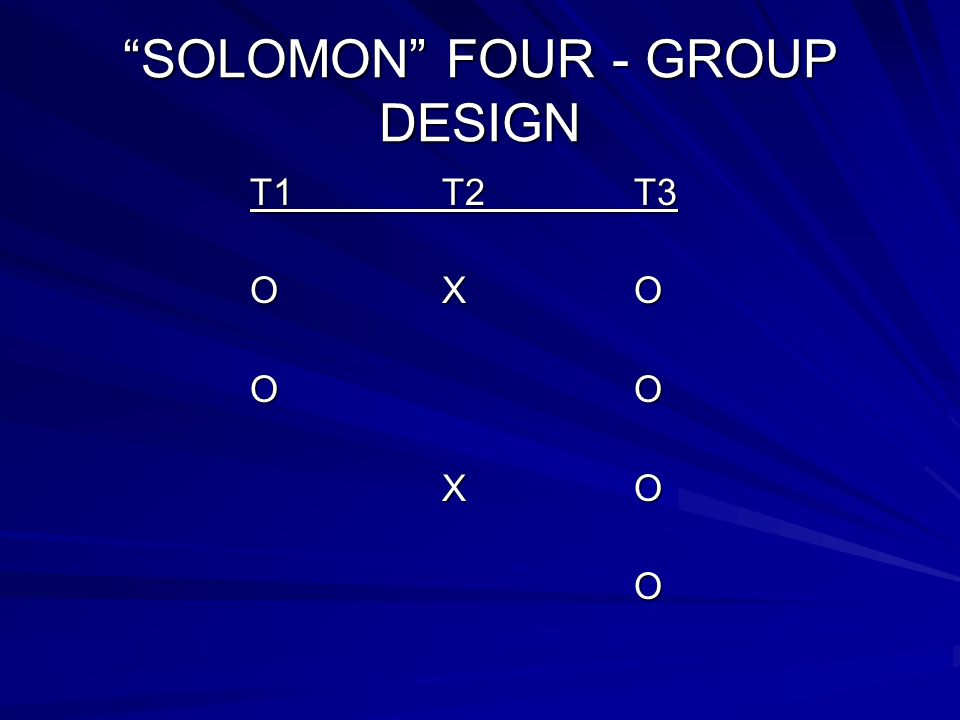 """SOLOMON"" FOUR - GROUP DESIGN T1T2T3 OXO OO XO O"
