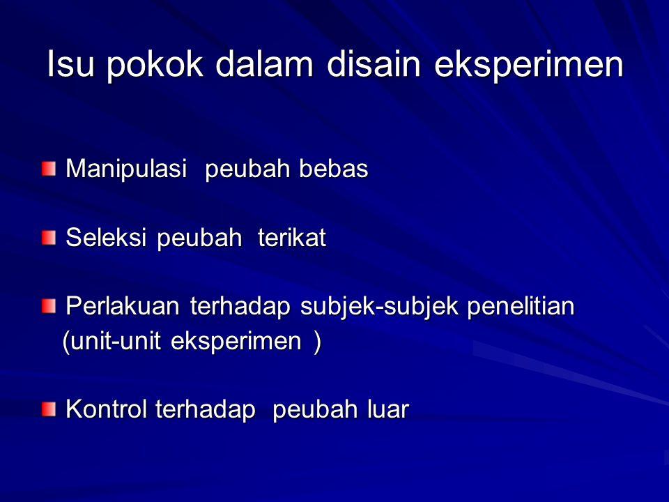 Isu pokok dalam disain eksperimen Manipulasi peubah bebas Seleksi peubah terikat Perlakuan terhadap subjek-subjek penelitian (unit-unit eksperimen ) (