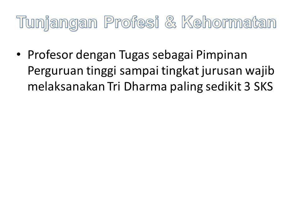 Profesor dengan Tugas sebagai Pimpinan Perguruan tinggi sampai tingkat jurusan wajib melaksanakan Tri Dharma paling sedikit 3 SKS
