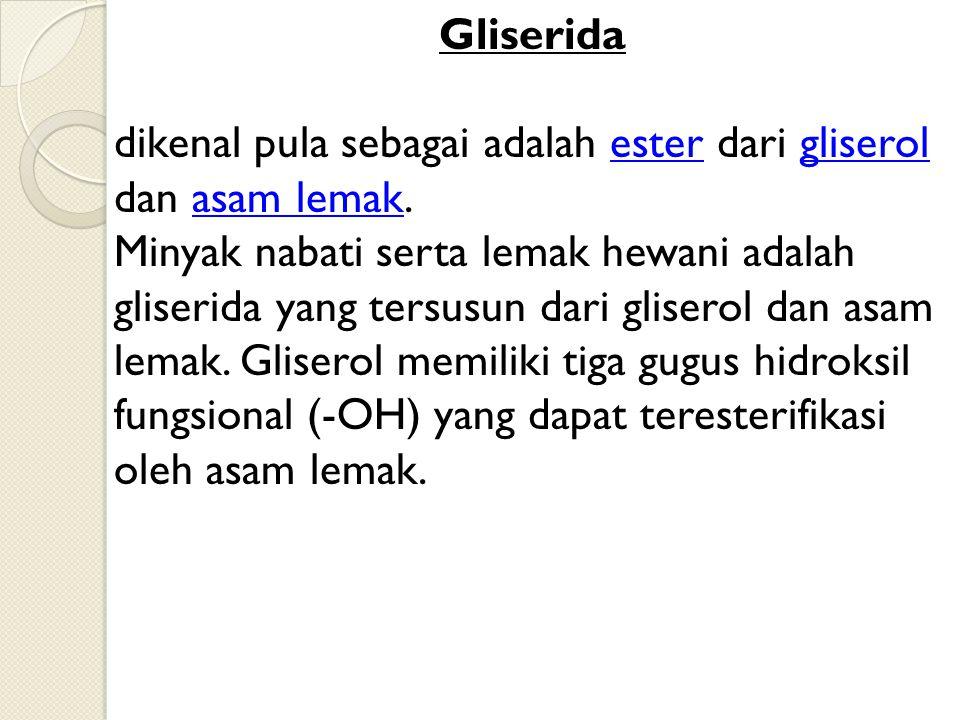 Gliserida dikenal pula sebagai adalah ester dari gliserol dan asam lemak.estergliserolasam lemak Minyak nabati serta lemak hewani adalah gliserida yan