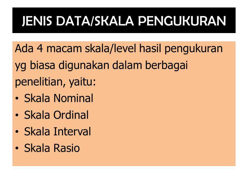 JENIS DATA/SKALA PENGUKURAN Ada 4 macam skala/level hasil pengukuran yg biasa digunakan dalam berbagai penelitian, yaitu: Skala Nominal Skala Ordinal