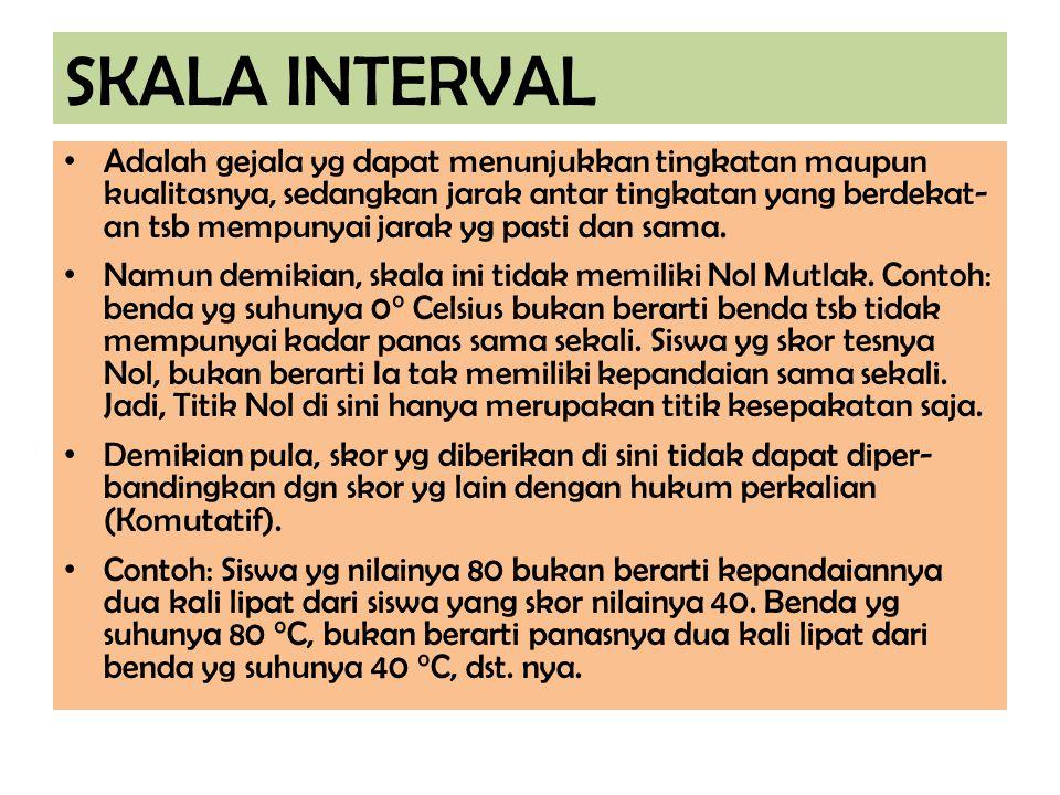 SKALA INTERVAL Adalah gejala yg dapat menunjukkan tingkatan maupun kualitasnya, sedangkan jarak antar tingkatan yang berdekat- an tsb mempunyai jarak