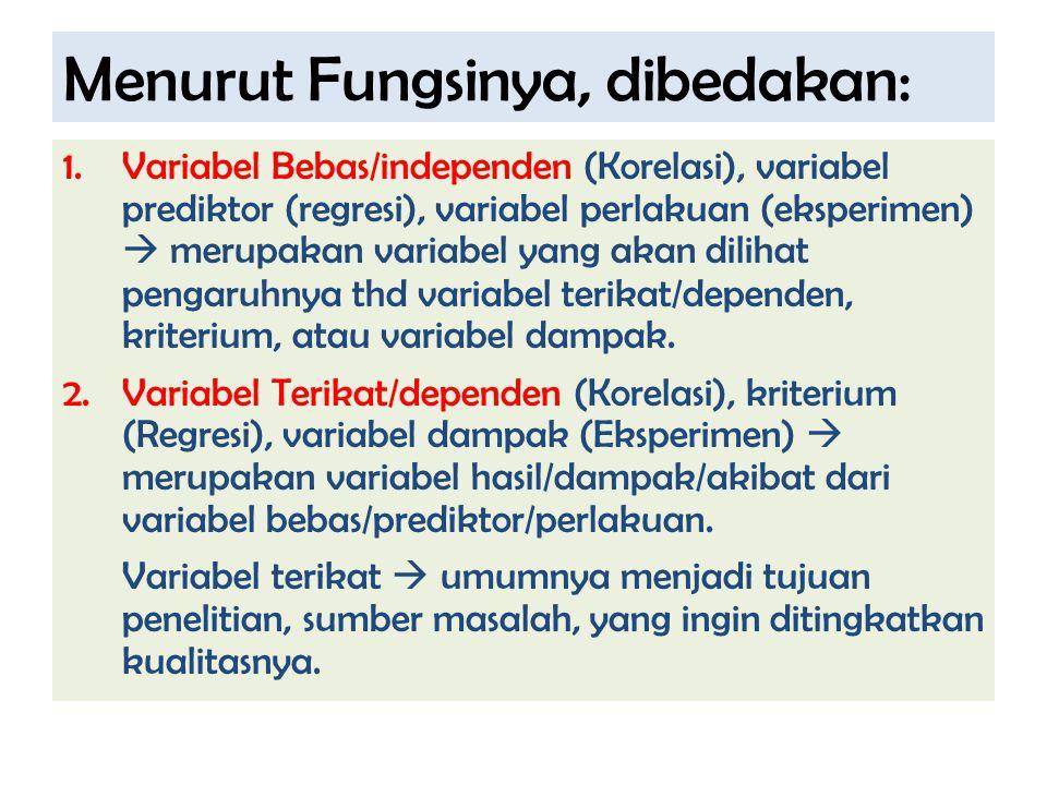 Menurut Fungsinya, dibedakan: 1.Variabel Bebas/independen (Korelasi), variabel prediktor (regresi), variabel perlakuan (eksperimen)  merupakan variab