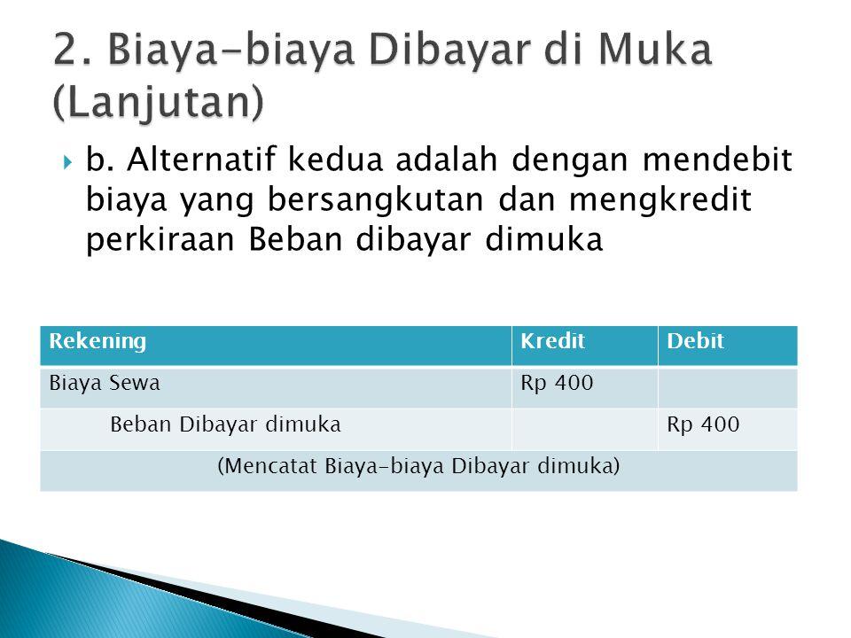  b. Alternatif kedua adalah dengan mendebit biaya yang bersangkutan dan mengkredit perkiraan Beban dibayar dimuka RekeningKreditDebit Biaya SewaRp 40