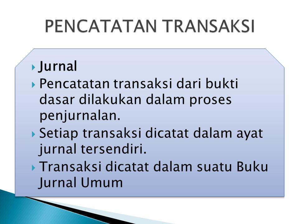  Jurnal  Pencatatan transaksi dari bukti dasar dilakukan dalam proses penjurnalan.