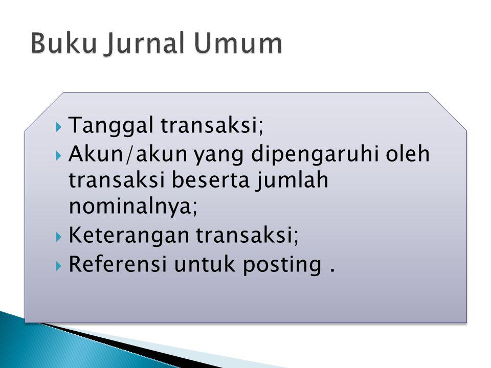  Tanggal transaksi;  Akun/akun yang dipengaruhi oleh transaksi beserta jumlah nominalnya;  Keterangan transaksi;  Referensi untuk posting.