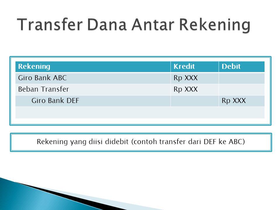 Rekening yang diisi didebit (contoh transfer dari DEF ke ABC) RekeningKreditDebit Giro Bank ABCRp XXX Beban TransferRp XXX Giro Bank DEFRp XXX