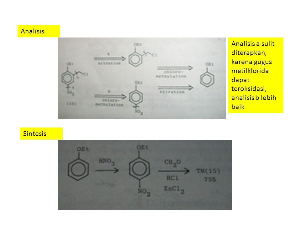 Analisis Analisis a sulit diterapkan, karena gugus metilklorida dapat teroksidasi, analisis b lebih baik Sintesis