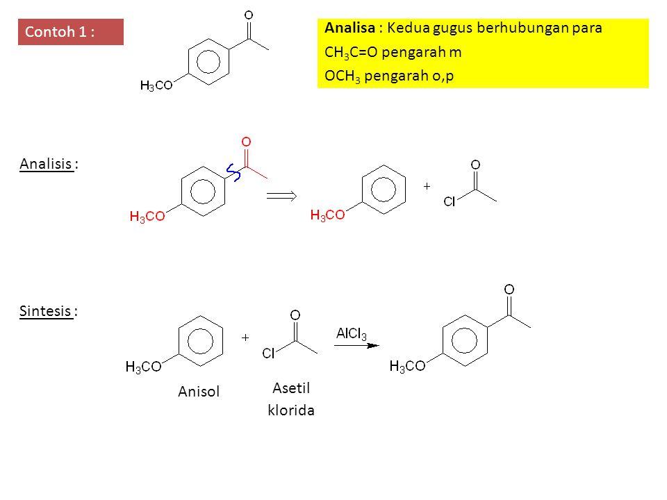 Contoh 1 : Analisa : Kedua gugus berhubungan para CH 3 C=O pengarah m OCH 3 pengarah o,p Analisis : Sintesis : Anisol Asetil klorida