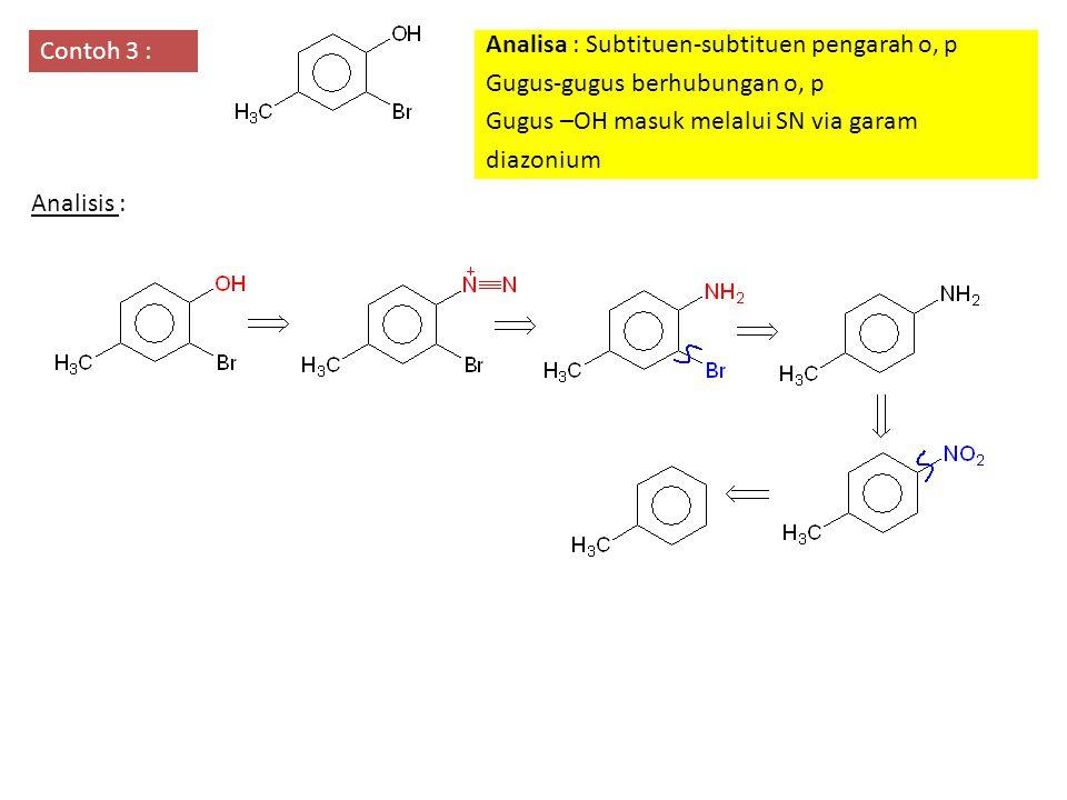 Contoh 3 : Analisa : Subtituen-subtituen pengarah o, p Gugus-gugus berhubungan o, p Gugus –OH masuk melalui SN via garam diazonium Analisis :