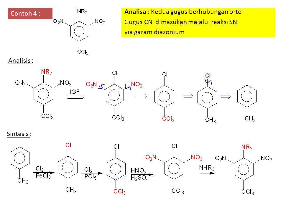 Contoh 4 : Analisa : Kedua gugus berhubungan orto Gugus CN - dimasukan melalui reaksi SN via garam diazonium Analisis : Sintesis :