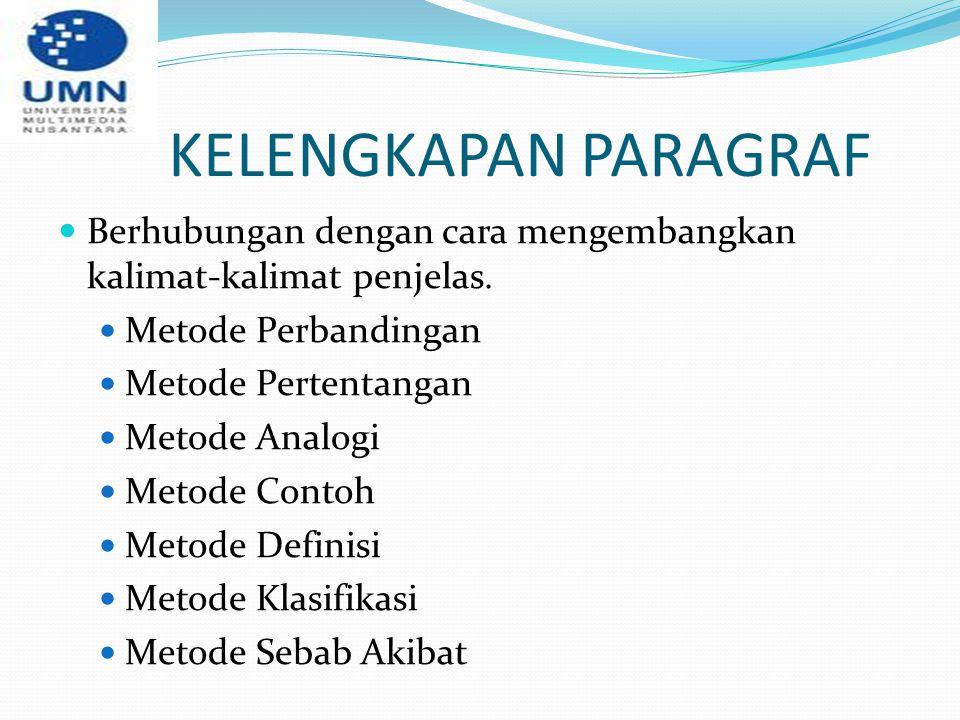 KELENGKAPAN PARAGRAF Berhubungan dengan cara mengembangkan kalimat-kalimat penjelas. Metode Perbandingan Metode Pertentangan Metode Analogi Metode Con