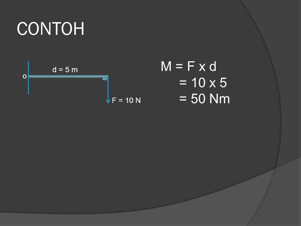 CONTOH o d = 5 m F = 10 N M = F x d = 10 x 5 = 50 Nm