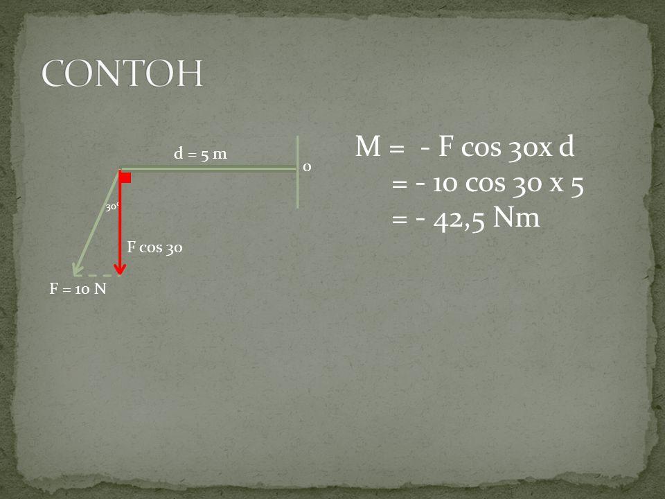 o d = 5 m F = 10 N M = - F cos 30x d = - 10 cos 30 x 5 = - 42,5 Nm 30  F cos 30
