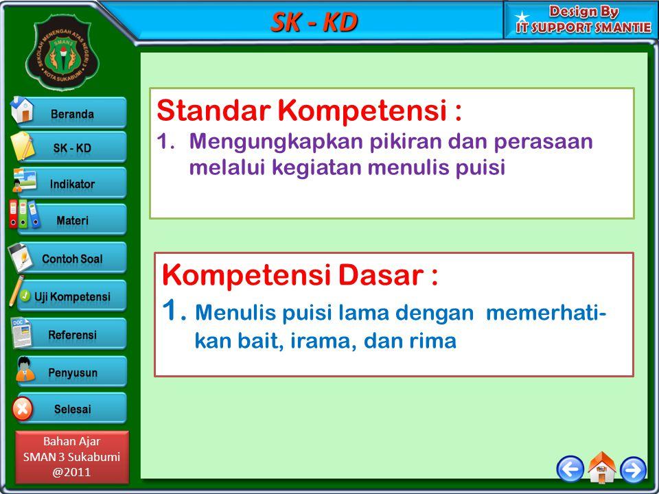 Bahan Ajar SMAN 3 Sukabumi @2011 Bahan Ajar SMAN 3 Sukabumi @2011 SK - KD Standar Kompetensi : 1.Mengungkapkan pikiran dan perasaan melalui kegiatan m