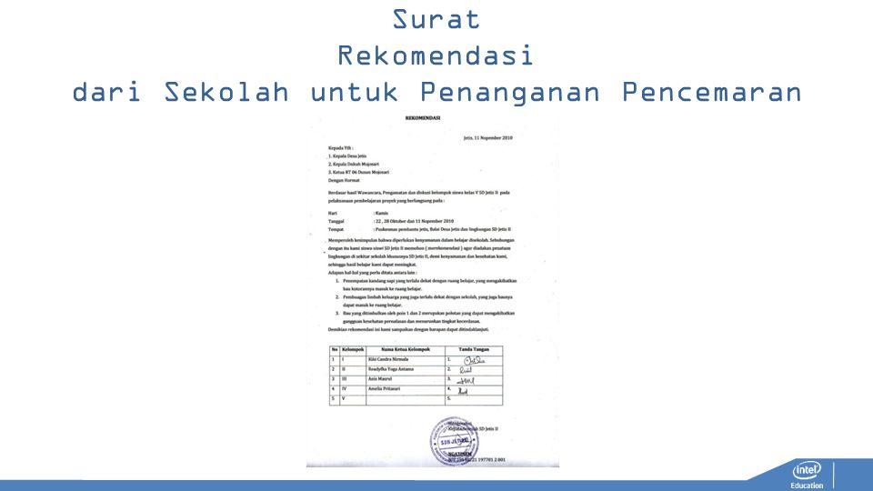 Surat Rekomendasi dari Sekolah untuk Penanganan Pencemaran