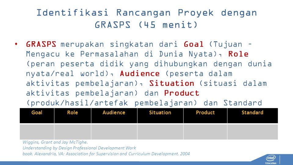Identifikasi Rancangan Proyek dengan GRASPS (45 menit) GRASPS merupakan singkatan dari Goal (Tujuan – Mengacu ke Permasalahan di Dunia Nyata), Role (p