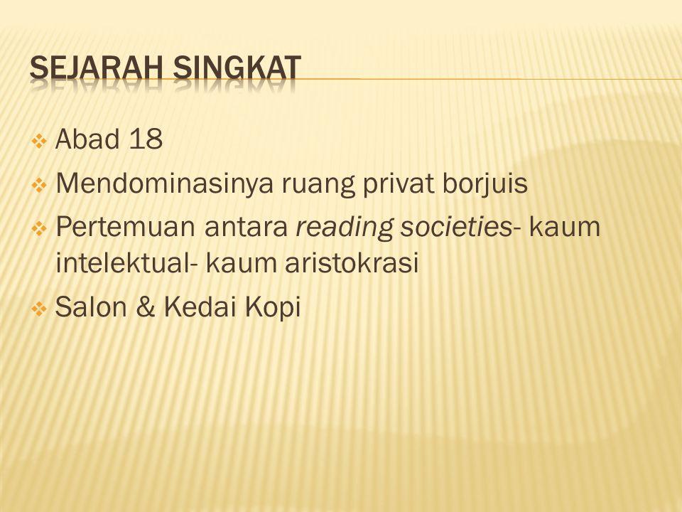 AAbad 18 MMendominasinya ruang privat borjuis PPertemuan antara reading societies- kaum intelektual- kaum aristokrasi SSalon & Kedai Kopi