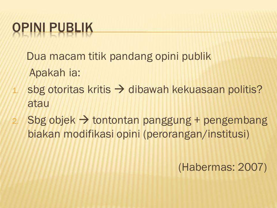 Dua macam titik pandang opini publik Apakah ia: 1.