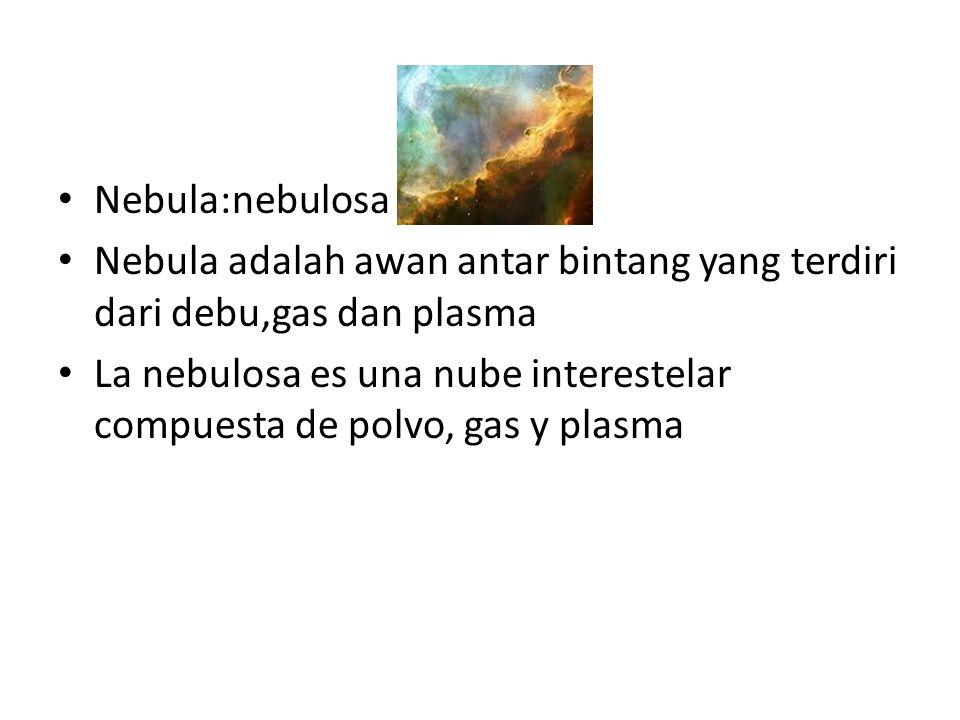 Nebula:nebulosa Nebula adalah awan antar bintang yang terdiri dari debu,gas dan plasma La nebulosa es una nube interestelar compuesta de polvo, gas y plasma