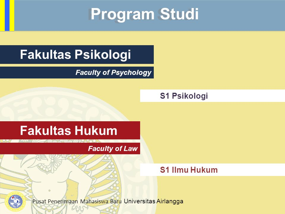 Pusat Penerimaan Mahasiswa Baru Universitas Airlangga Fakultas Psikologi Faculty of Psychology S1 Psikologi Program Studi Fakultas Hukum Faculty of Law S1 Ilmu Hukum
