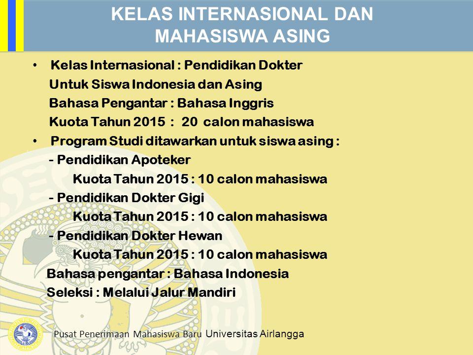 Pusat Penerimaan Mahasiswa Baru Universitas Airlangga KELAS INTERNASIONAL DAN MAHASISWA ASING Kelas Internasional : Pendidikan Dokter Untuk Siswa Indo