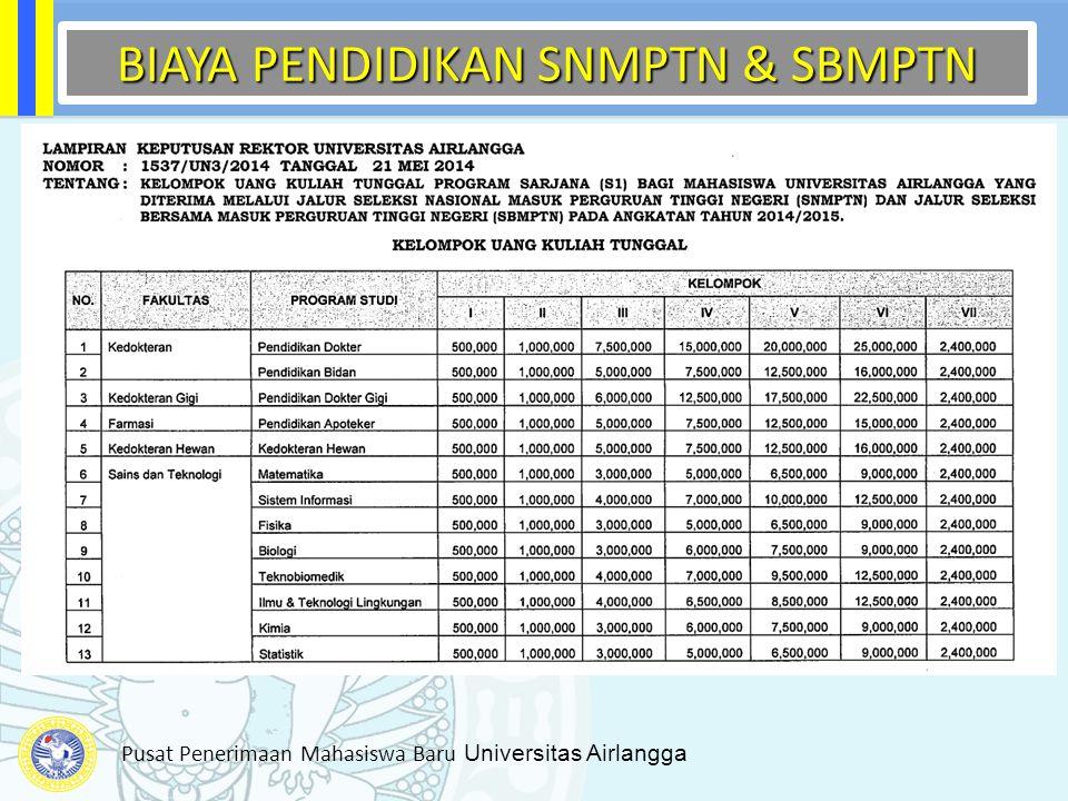 Pusat Penerimaan Mahasiswa Baru Universitas Airlangga BIAYA PENDIDIKAN SNMPTN & SBMPTN BIAYA PENDIDIKAN SNMPTN & SBMPTN
