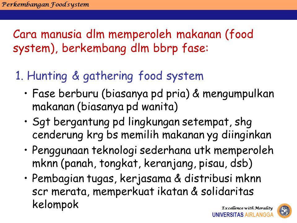 Perkembangan Food system Excellence with Morality UNIVERSITAS AIRLANGGA Cara manusia dlm memperoleh makanan (food system), berkembang dlm bbrp fase: F