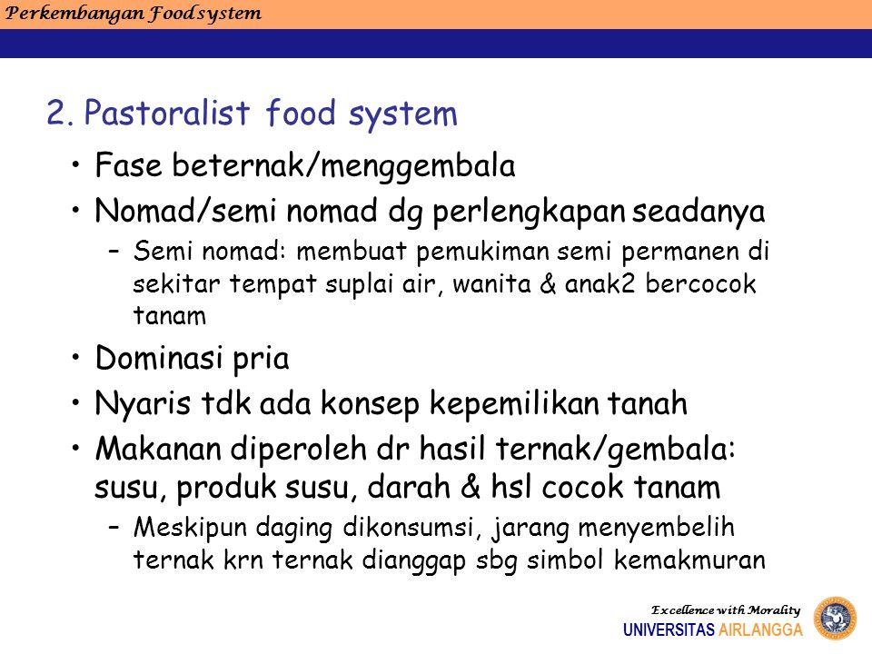 Perkembangan Food system Excellence with Morality UNIVERSITAS AIRLANGGA Fase beternak/menggembala Nomad/semi nomad dg perlengkapan seadanya –Semi noma