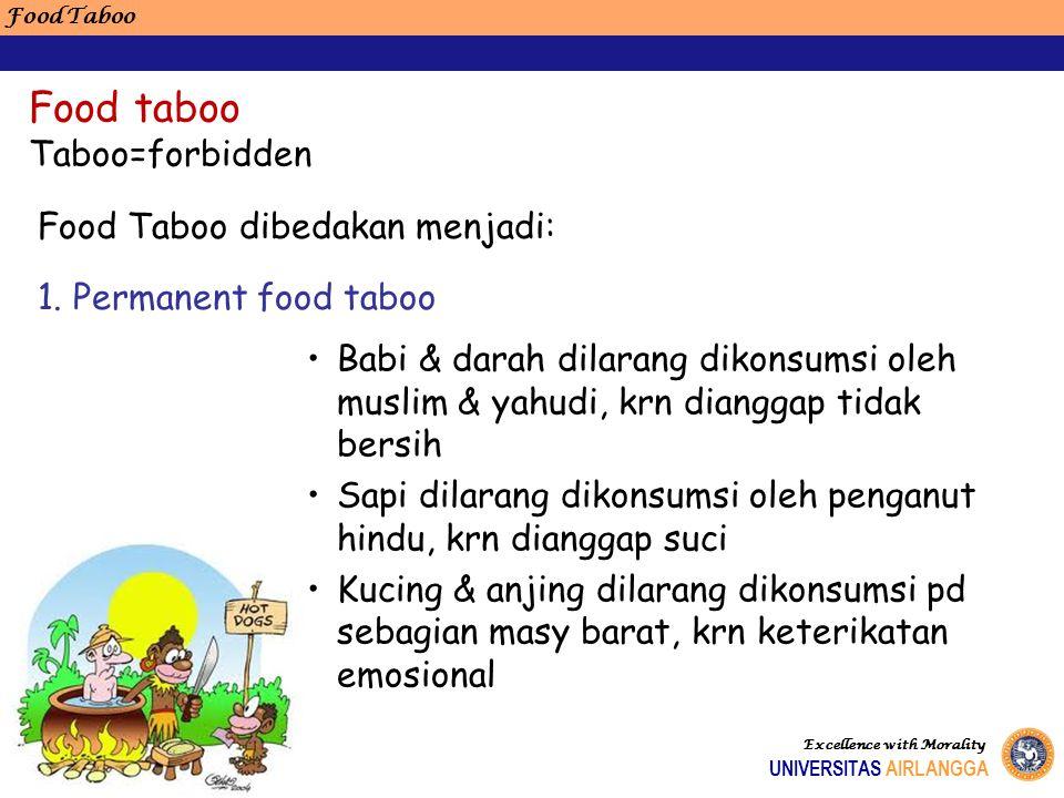 Food Taboo Excellence with Morality UNIVERSITAS AIRLANGGA Food taboo Taboo=forbidden Babi & darah dilarang dikonsumsi oleh muslim & yahudi, krn diangg