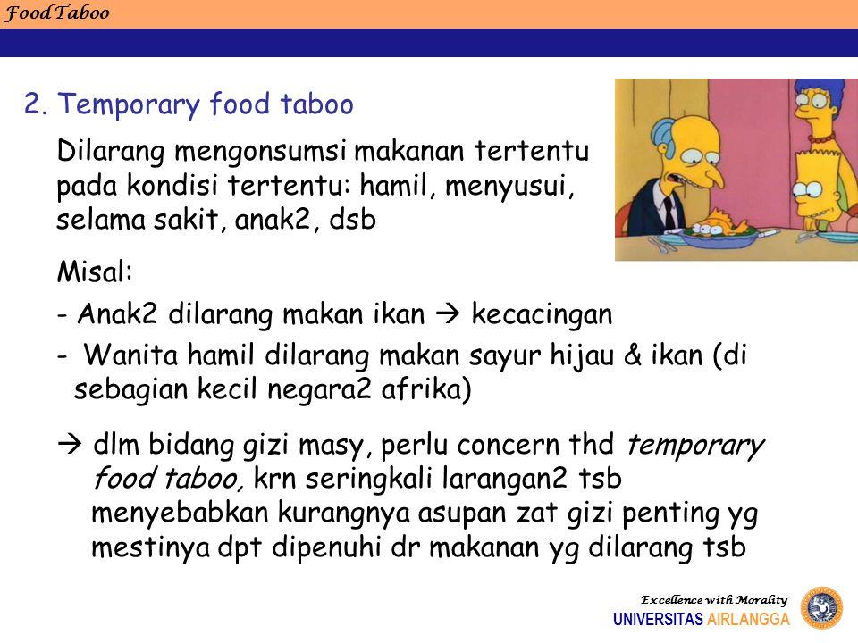 Food Taboo Excellence with Morality UNIVERSITAS AIRLANGGA Dilarang mengonsumsi makanan tertentu pada kondisi tertentu: hamil, menyusui, selama sakit,