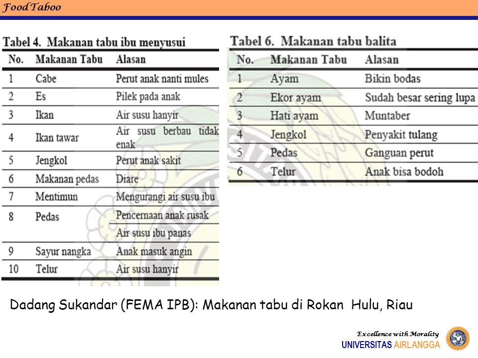 Dadang Sukandar (FEMA IPB): Makanan tabu di Rokan Hulu, Riau Food Taboo Excellence with Morality UNIVERSITAS AIRLANGGA